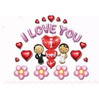 Sét Bóng Trang Trí Phòng Cưới Phòng Tân Hôn , BÓNG I LOVE YOU tỏ tình, cầu hôn tặng bơm keo