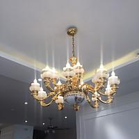 Đèn chùm treo tường tân cổ điển 15 tay, thả trần nhập khẩu cao cấp hợp kim mạ vàng và sứ giả đá cao cấp ( Đèn chùm Châu Âu)