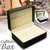 Chic Black Leather Velvet Cufflinks Tie Clip Bar Brooch Storage Box Case Holder