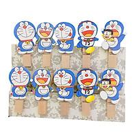 Set 10 Cái Kẹp Gỗ Sơn Design Pub hình Mèo Doremon (Tặng 1,5m dây cói)