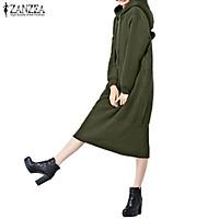 ZANZEA Women Long Sleeve Hoodies Plus Size Maxi Long Dress Sweatshirt Pullovers Army Green