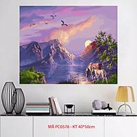 Tranh sơn dầu số hóa tự tô màu phong cảnh - Mã PC0576 Đôi ngựa dưới ánh hoàng hôn