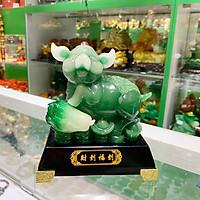 Vua heo xanh ngọc chân gác cải xanh trên đống kim bảo xanh - Tài Đáo Phước Đáo FLN020