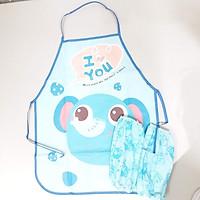 Tạp dề, yếm nấu ăn học vẽ có lót tay, chống thấm nước cho bé