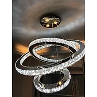 Bộ đèn thả led  pha lê 3 vòng 300x500x700(mm) ánh sáng 3  chế độ màu có điều khiển trang trí phòng khách tiền sảnh