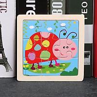 Đồ chơi xếp hình lắp ráp tranh ghép gỗ 9 mảnh hơn 20 mẫu ngộ nghĩnh size nhỏ 11x11cm