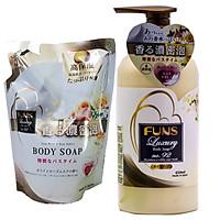 Combo 1 Chai + 1 Túi Sữa Tắm Trắng Da Chống Lão Hóa Tinh Chất Hoa Hồng Nhật Bản FUNS LUXURY NO.92 450ML
