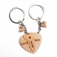 Móc khóa đôi gỗ chìa khoá trái tim