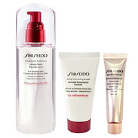 Bộ Sản Phẩm Sửa Rữa Mặt Shiseido Deep Cleansing Foam, Cân Bằng Da Shiseido Treatment Softerner Và Kem Dưỡng Da Tay Shiseido Benefiance Wrinkleresist24