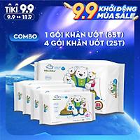 Combo ( 1+ 4) 1 gói 85 tờ + 4 gói 25 tờ Khăn ướt dành cho bé Oma&Baby với công thức Chlorhexidine Digluconate kháng khuẩn an toàn, dịu nhẹ trong khăn - Combo (1+4) Oma&Baby wet wipes ( 85pcs per bag*1 + 25pcs per bag*4)