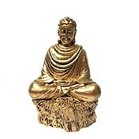 Tượng đá phật thích ca thiền định - màu nhũ vàng