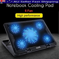 Professional Black Notebook 5 Fan LED USB Port Radiator Cooling Exhaust Computer Laptop Stand Cooling Cooler Base Pad Mat