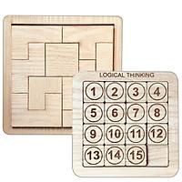 Bộ 2 Đồ Chơi Giải Đố Hack Não Xếp Hình Tetris Tangram Và Bảng Trượt Số Logical Thinking Theo Thứ Tự Chất Liệu Gỗ An Toàn Cho Cả Người Lớn Và Trẻ Nhỏ Kích Thước 15x15 cm