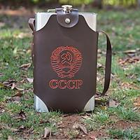 Bình INOX Đựng Rượu CCCP Truyền Thống 3.5L   Tặng Kèm Gáo Dừa Múc Rượu và Bao Da