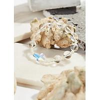 Vòng Tay Mân Côi Đá Thạch Anh Trắng Thánh Giá Pha Lê Hạt 10mm ,Ni 52 - Ngọc Quý Gemstones