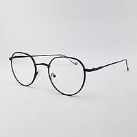 Gọng kính nam nữ mắt cận tròn kim loại màu đen, bạc, vàng SA3514. Tròng kính giả cận 0 độ chống ánh sáng xanh, chống tia UV