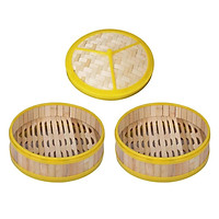 2x Natural Bamboo Steamer Basket For Cooking Buns Dumpling Weaving With Lid