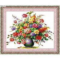 Tranh thêu chữ thập Bình Hoa Khoe Sắc (100*80cm) chưa thêu