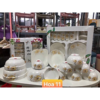 Bộ đồ ăn gốm sứ cao cấp 11 món :bát, đĩa, tô, chén  gốm sứ