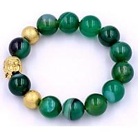 Vòng tay đá thạch anh xanh lá sọc 14 ly VTAXLSNLVHB14 - Chuỗi Phật Như lai inox vàng kèm 2 bi - Chuỗi đá phong thủy, đem lại bình an, may mắn - Chuỗi tay size lớn