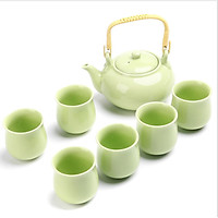 Bộ bình trà Ngọc Lộ Khai Tâm 1 bình 6 tách chất liệu đất cao lanh và men tráng sứ PK000567