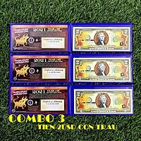 Combo 3 tờ 2 USD hình con Trâu mạ nhũ vàng 2021, dùng để sưu tầm, lưu niệm, làm tiền lì xì độc lạ, may mắn, ý nghĩa - TMT Collection - SP005109
