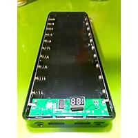 Box sạc dự phòng không pin 10 cell 18650 màn hình LCD có cổng Type-C màu đen