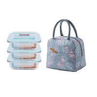 Bộ hộp đựng cơm thủy tinh chia ngăn chống tràn kèm túi xách giữ nhiệt và bộ thìa dĩa inox cao cấp (giao mẫu túi ngẫu nhiên)