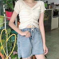 New Women T-shirt Striped Drawstring V Neck Tops Harajuku T-shirt Summer Short Sleeve T-shirt Korean Punk T-shirt Female