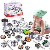 Bộ Đồ Chơi Nấu Ăn Nhà Bếp INOX 40 món Mini Cho Bé yêu