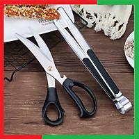 Bộ kéo và kẹp cắt thực phẩm tiện dụng bằng thép không gỉ Cao Cấp,Giúp kẹp thực phẩm nóng và mỡ,Cắt nhỏ rất dễ dàng và tiện dụng - Bộ kéo kẹp cắt đồ ăn thức ăn nóng và mỡ