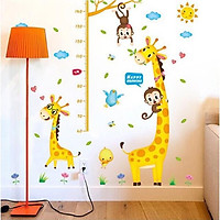 Decal dán tường thước đo khỉ và hươu cao cổ cho bé XL8337