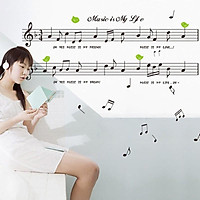 Decal dán tường Music is my life AY7106