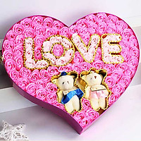 Hộp quà trái tim 2 gấu bông và hoa hồng sáp 99 bông