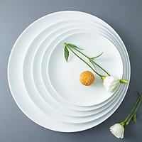 Đĩa đựng đồ ăn tròn khum bằng sứ trắng cao cấp Long Phương chính hãng