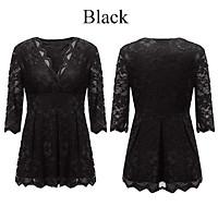 ZANZEA 2017 Trendy S-6XL Oversize Womens Deep Plunge V Neck Half Sleeve Lace Crochet Tops Shirts Hot Flare Swing T-shirts (Black)