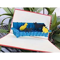 Thiệp 3D Động Vật - Bầy mèo trên ghế Sofa - T89