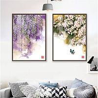 Tranh canvas Trang Trí Treo Tường- Bộ Hai Tranh Hoa Trang Trí