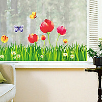 Decal Dán Tường Chân Tường Hoa Tulip Binbin CT08 (120 x 65 cm)