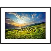 Tranh Treo Tường Phong Cảnh Ruộng Bậc Thang Tây Bắc, In Trên Giấy Glossy Cao Cấp Bằng Công Nghệ In Tiên Tiến Của Nhật Bản - KT 60 x 90 Cm