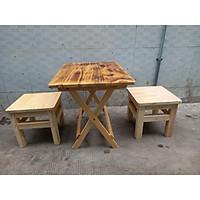 Bộ 2 ghế đôn 1 bàn xếp gỗ thông