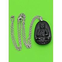 Vòng cổ Phật A Di Đà thạch anh đen 3.6 cm DITTEB7 - Hộ mệnh cho người tuổi Tuất, Hợi - Đem lại may mắn, thuận lợi trong cuộc sống - Dây đeo inox