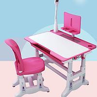 Bàn ghế học sinh chống gù chống cận mẫu chân voi chắc chắn, tặng kèm đèn led chống cận 3 chế độ NT43