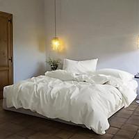 Bộ Chăn Ga Gối Cotton Basic - Trắng Tinh khách Sạn