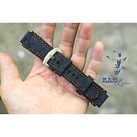 Dây đồng hồ da bò cho Casio AE1200 WHD và Seiko 5 37mm  (Tặng Khóa + Cây thay dây + 2 chốt) - Da bò lộn navy chỉ vàng