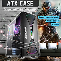 [PC Case Only] PC Case Gaming Computer Tower Transparent Side Window with 4 Fans Double USB 3.0/2.0 Interface ATX Host Game PC Tower Case