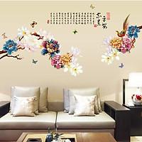 Decal dán tường cho bé hình hoa mẫu đơn