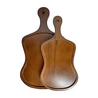 Đĩa gỗ tự nhiên nguyên khối màu nâu hình quạt đựng trà bánh đồ ăn đĩa gỗ decor phụ kiện phòng ăn