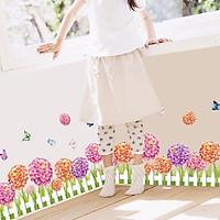 Decal dán tường cho bé hình hàng rào hoa