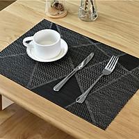 Tấm lót bàn ăn chất liệu PVC, Không thấm nước, Hình chữ nhật, Màu ánh kim sang trọng, Kích thước  30x45cm, Phù hợp với mọi phong cách trang trí bàn ăn